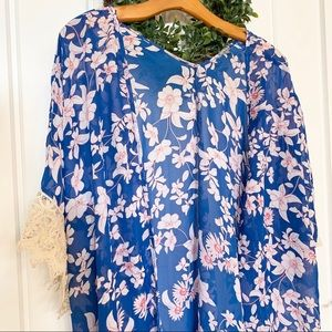 Tops - Long Sheer Floral and Lace Cardigan